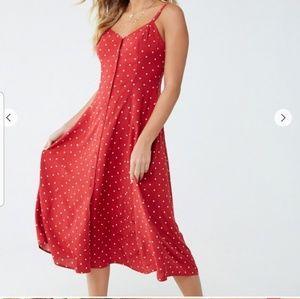 Red & White Polka Dot Crisscross Cami Dress